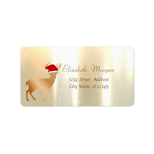 Elegant ,Christmas, Deer  With Santa Hat