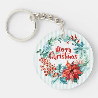 Elegant Christmas Floral Wreath Keychain