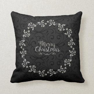 Elegant Christmas Floral Wreath | Throw Pillow