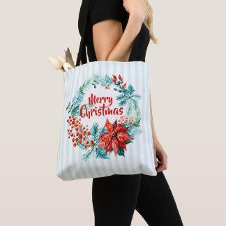 Elegant Christmas Floral Wreath Tote Bag
