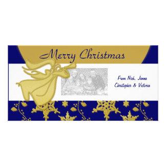 Elegant Christmas gold angel holiday greeting Custom Photo Card