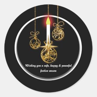 Elegant Christmas greeting Classic Round Sticker
