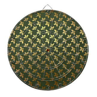 Elegant Christmas Holly Gold Pattern Dartboard With Darts