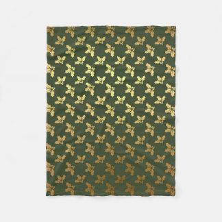 Elegant Christmas Holly Gold Pattern Fleece Blanket
