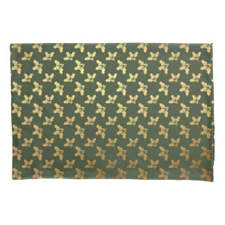 Elegant Christmas Holly Gold Pattern Pillowcase