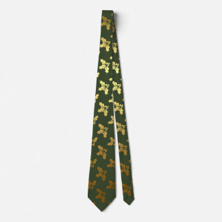 Elegant Christmas Holly Gold Pattern Tie