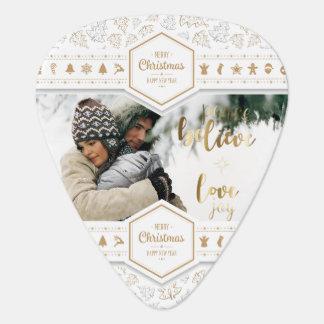 Elegant Christmas Love Photo Guitar Pick