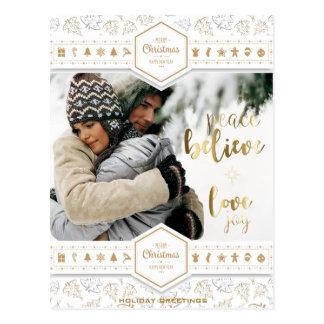 Elegant Christmas Love Photo Postcard
