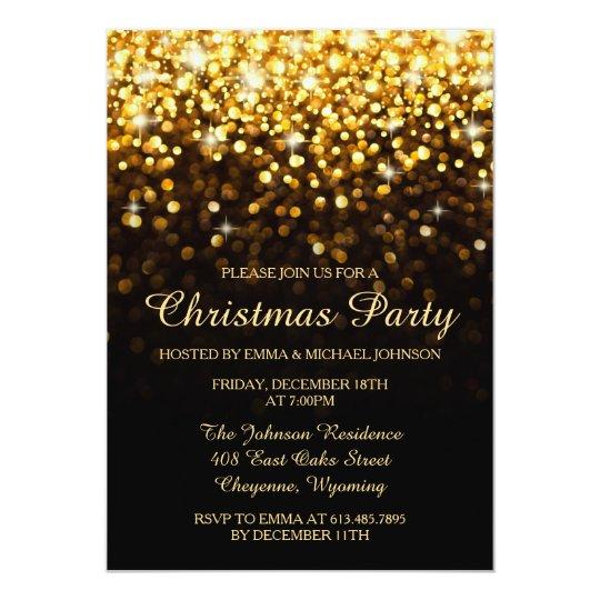 Elegant Christmas Party Gold Shimmering Lights Card