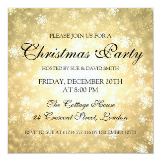 Elegant Christmas Party Gold Winter Wonderland Card