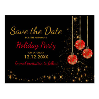 Elegant Christmas Party Save the Date Postcard