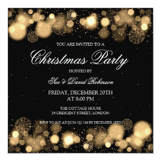 Elegant Christmas Party Winter Wonder Gold Card