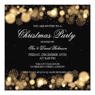Elegant Christmas Party Winter Wonder Gold Invitations