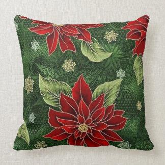 Elegant Christmas Poinsettia Throw Pillow