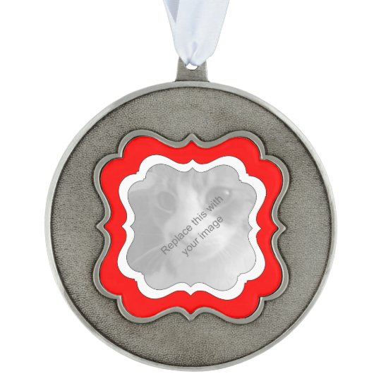 Elegant Christmas red and white Scalloped Pewter Ornament