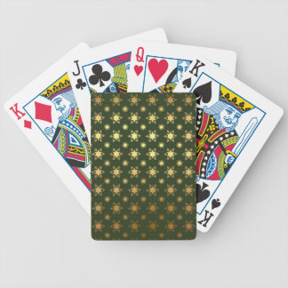 Elegant Christmas Snowflake Gold Foil Pattern Bicycle Playing Cards