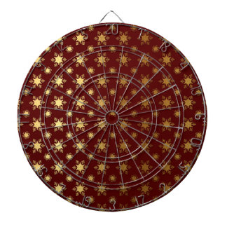 Elegant Christmas Snowflake Gold Foil Pattern Dartboard With Darts