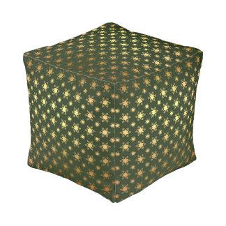 Elegant Christmas Snowflake Gold Foil Pattern Pouf