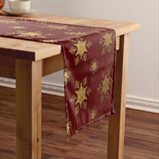 Elegant Christmas Snowflake Gold Foil Pattern Short Table Runner