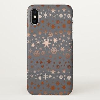 Elegant Christmas snowflake pattern rose gold iPhone X Case