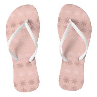 Elegant Christmas snowflake rose gold pattern Flip Flops