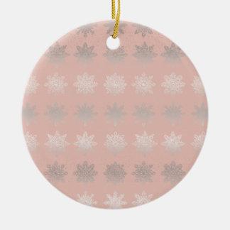 Elegant Christmas snowflake silver rose gold Ceramic Ornament