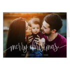 Elegant Christmas Text Photo Greeting Card | White