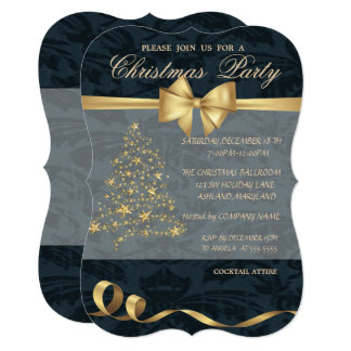 Elegant Christmas Tree ,Bow,Christmas Party Card