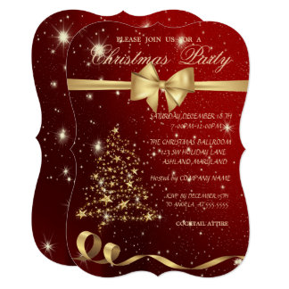 Elegant Christmas Tree ,Bow,Red,Christmas Party Card