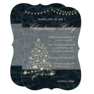 Elegant Christmas Tree,Damask,Christmas Party Card