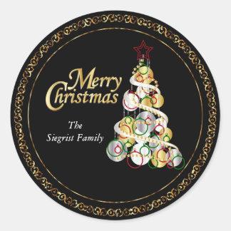Elegant Christmas Tree Design Classic Round Sticker