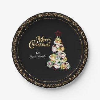 Elegant Christmas Tree Design Paper Plate