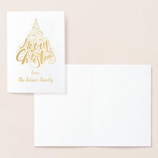 Elegant Christmas Tree Merry Christmas Monogram Foil Card