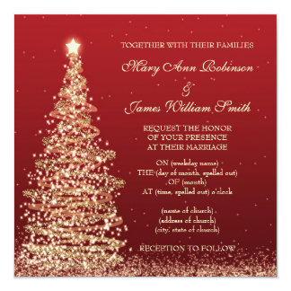 "Elegant Christmas Wedding Red 5.25"" Square Invitation Card"