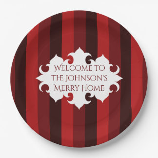 Elegant Christmas welcome red striped 9 Inch Paper Plate