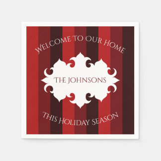 Elegant Christmas welcome red striped Paper Napkin