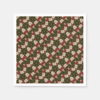 Elegant Christmas Wreath Kaleidoscope Star Green Disposable Napkins