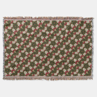 Elegant Christmas Wreath Red Green Kaleidoscope Throw Blanket