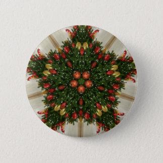 Elegant Christmas Wreath Red Green Kaleidoscopic 2 Inch Round Button