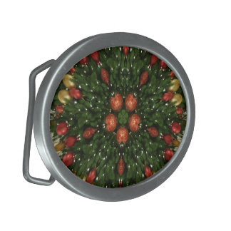 Elegant Christmas Wreath Red Green Kaleidoscopic Belt Buckles