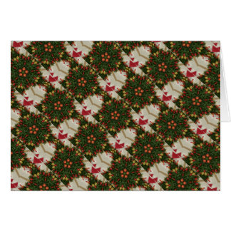 Elegant Christmas Wreath Red Green Kaleidoscopic Card