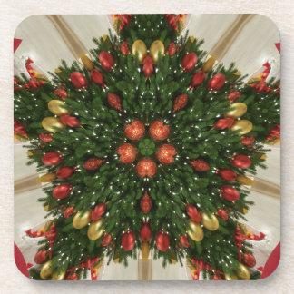 Elegant Christmas Wreath Red Green Kaleidoscopic Coaster