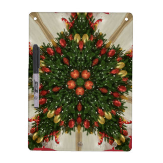 Elegant Christmas Wreath Red Green Kaleidoscopic Dry Erase Board