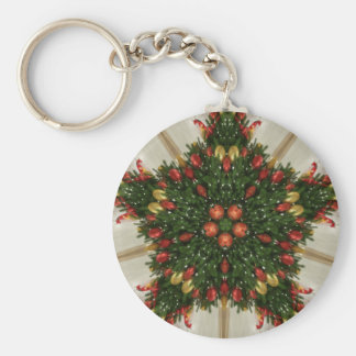 Elegant Christmas Wreath Red Green Kaleidoscopic Keychain