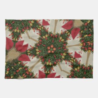 Elegant Christmas Wreath Red Green Kaleidoscopic Kitchen Towel
