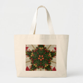 Elegant Christmas Wreath Red Green Kaleidoscopic Large Tote Bag