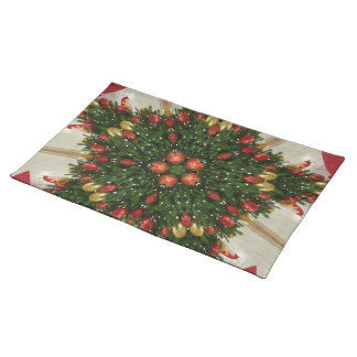 Elegant Christmas Wreath Red Green Kaleidoscopic Placemat