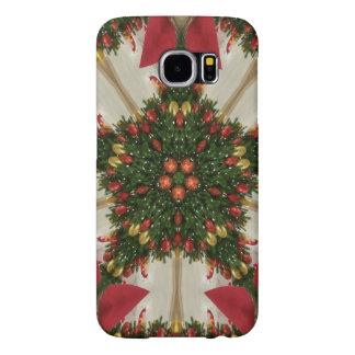 Elegant Christmas Wreath Red Green Kaleidoscopic Samsung Galaxy S6 Cases