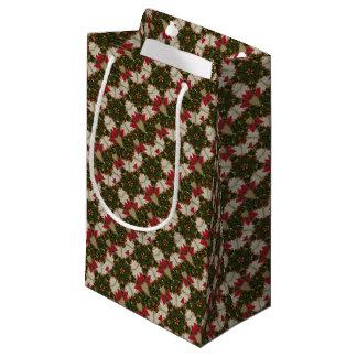 Elegant Christmas Wreath Red Green Kaleidoscopic Small Gift Bag