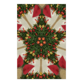Elegant Christmas Wreath Red Green Kaleidoscopic Stationery